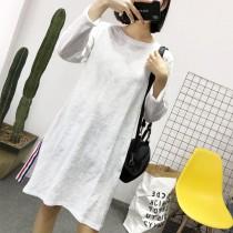 一個女孩的衣櫥-韓國東大門-♡ ♥韓系休閒春季素色竹節棉兩側開岔滾邊長袖T恤6色♡ ♥