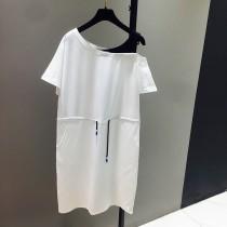 美式休閒寬鬆露肩中長款腰部抽繩綁帶T恤 4色