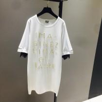 美式休閒寬鬆釘珠中長款顯瘦潮流T恤